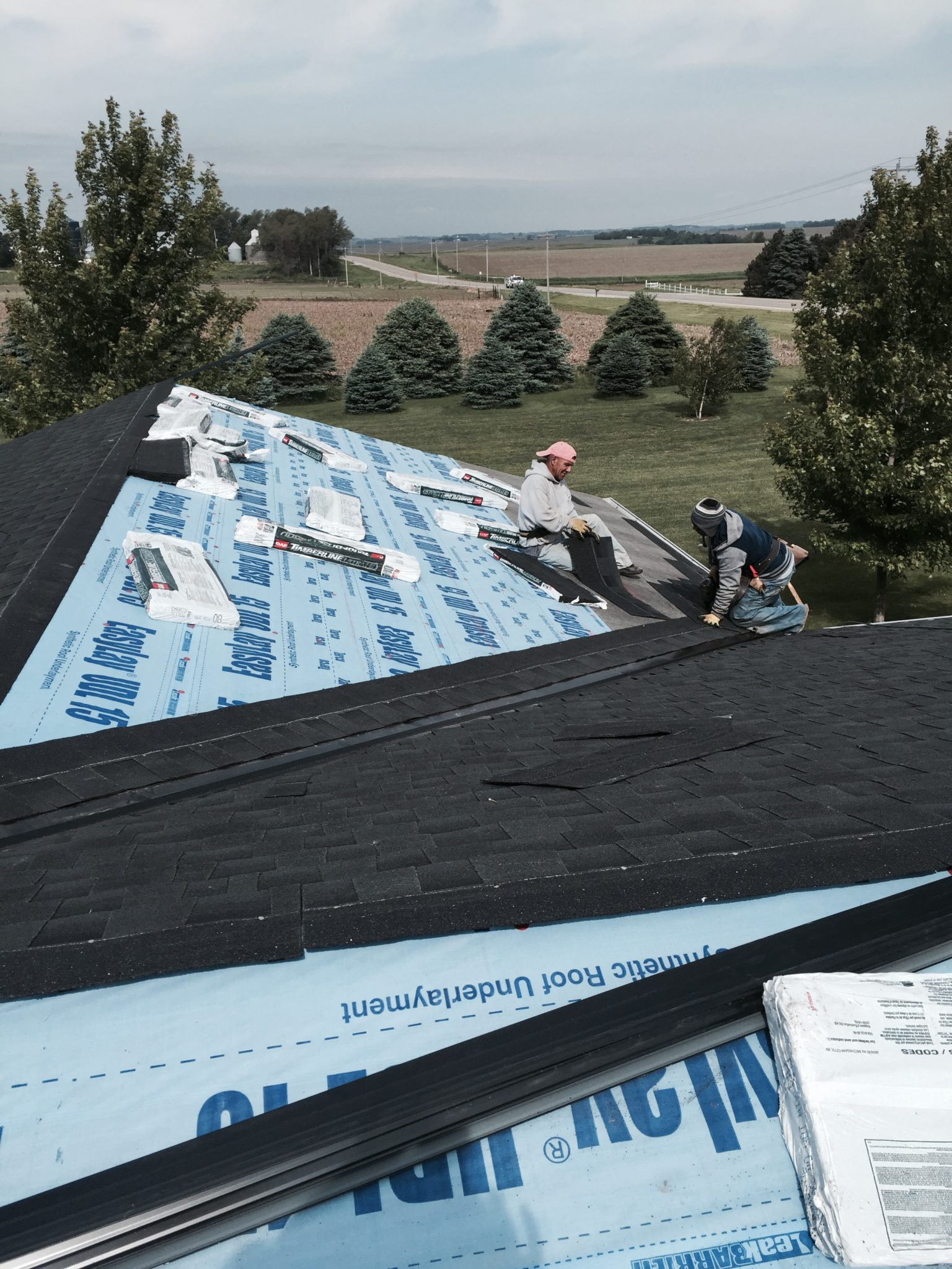 Our Roofing crew installing GAF Shingles Omaha