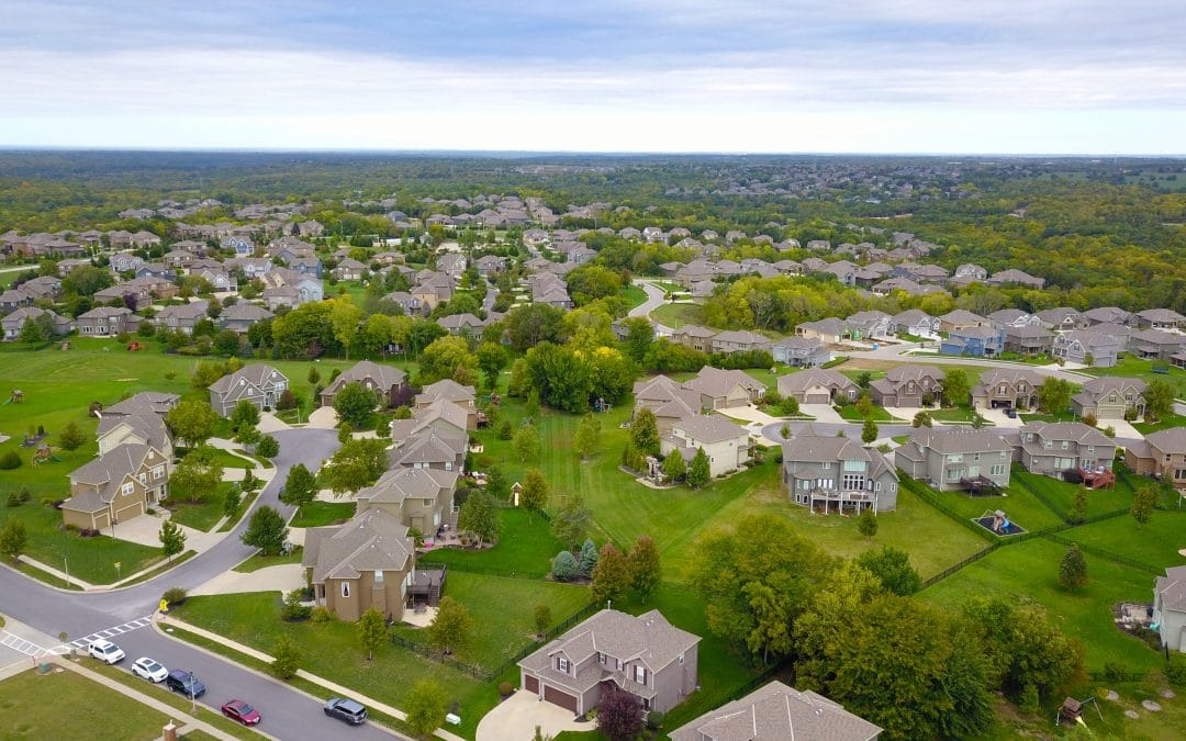 aerial view of residential subdivision neighborhood