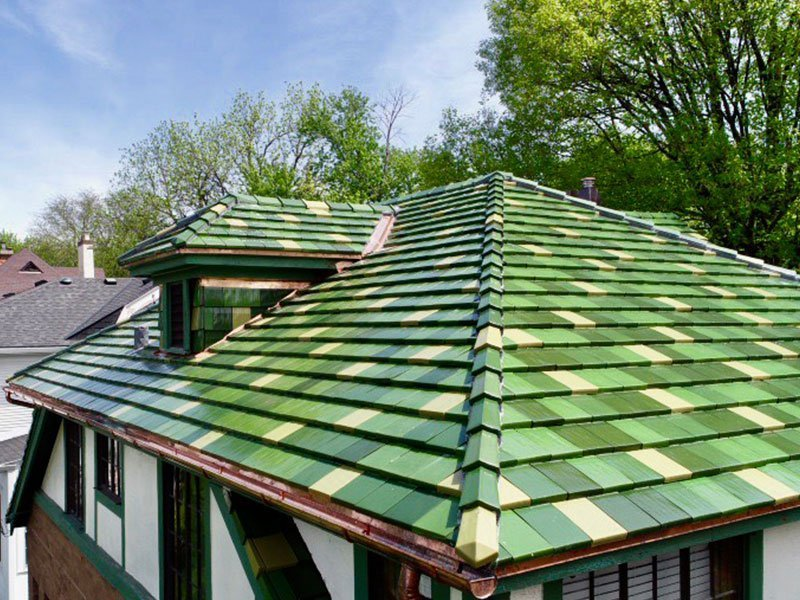 Corner detail of green Ludowici tile roof project completed by Exterior Remodel & Design in Omaha, NE