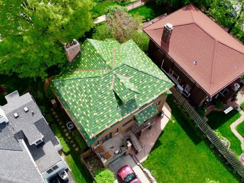 Bird's eye view of green Ludowici tile roof project completed by Exterior Remodel & Design in Omaha, NE