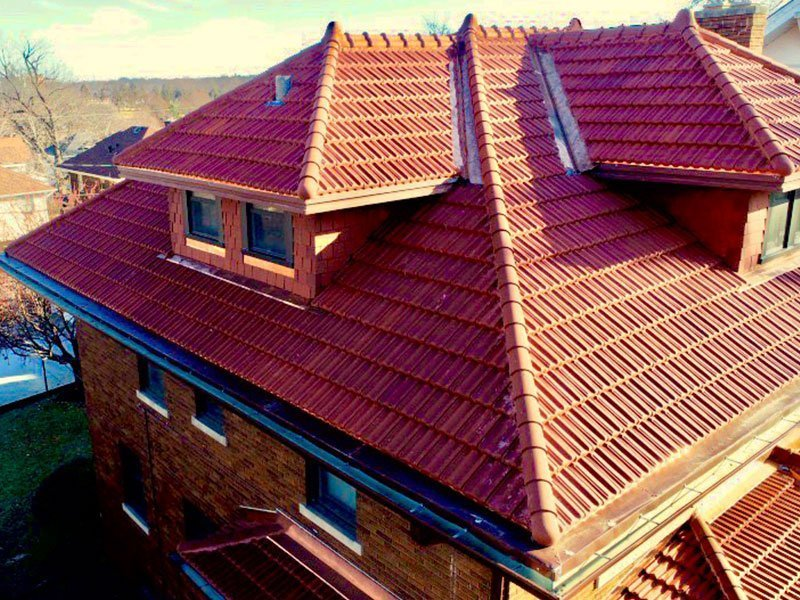 Angled corner detail of Ludowici tile roof project completed by Exterior Remodel & Design in Omaha, NE